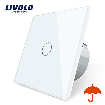 Сенсорный выключатель Livolo для улицы с защитой от брызг IP44 белый стекло (VL-C701IP-11)