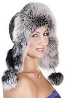 Женская Шапка-Ушанка из меха песца и кожи UМ26 Серый
