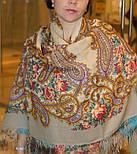 Час свидания 1570-2, павлопосадский платок шерстяной  с шелковой бахромой, фото 6