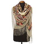Час свидания 1570-2, павлопосадский платок шерстяной  с шелковой бахромой, фото 2