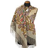 Час свидания 1570-2, павлопосадский платок шерстяной  с шелковой бахромой, фото 3