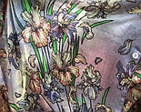 Палантин шерстяной 10755-13, павлопосадский шарф-палантин шерстяной (разреженная шерсть) с осыпкой, фото 7
