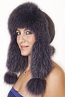 Женская Шапка-Ушанка из меха песца и кожи UМ26 Темный серый