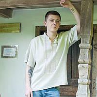 Вишита сорочка короткий рукав (сірий льон), фото 1