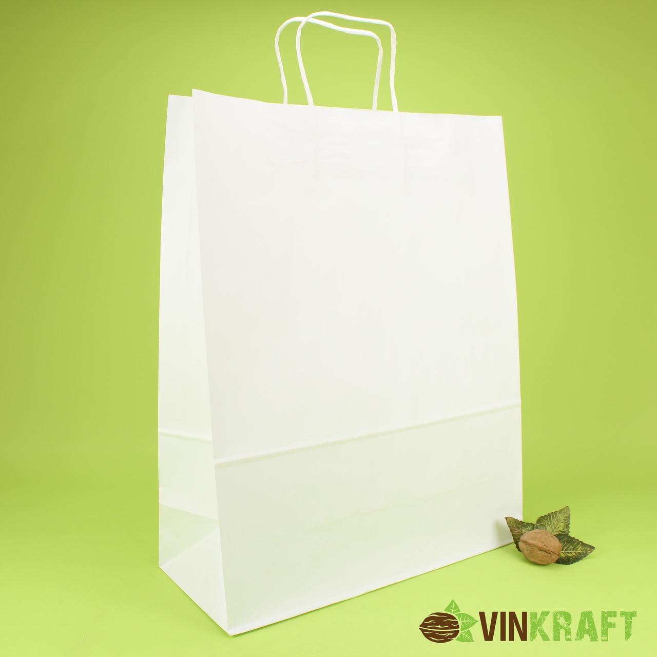 Паперовий пакет з ручками 340*180*380 (100 г/м2), білий