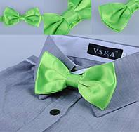 Бабочка галстук атлас салатовая, фото 1