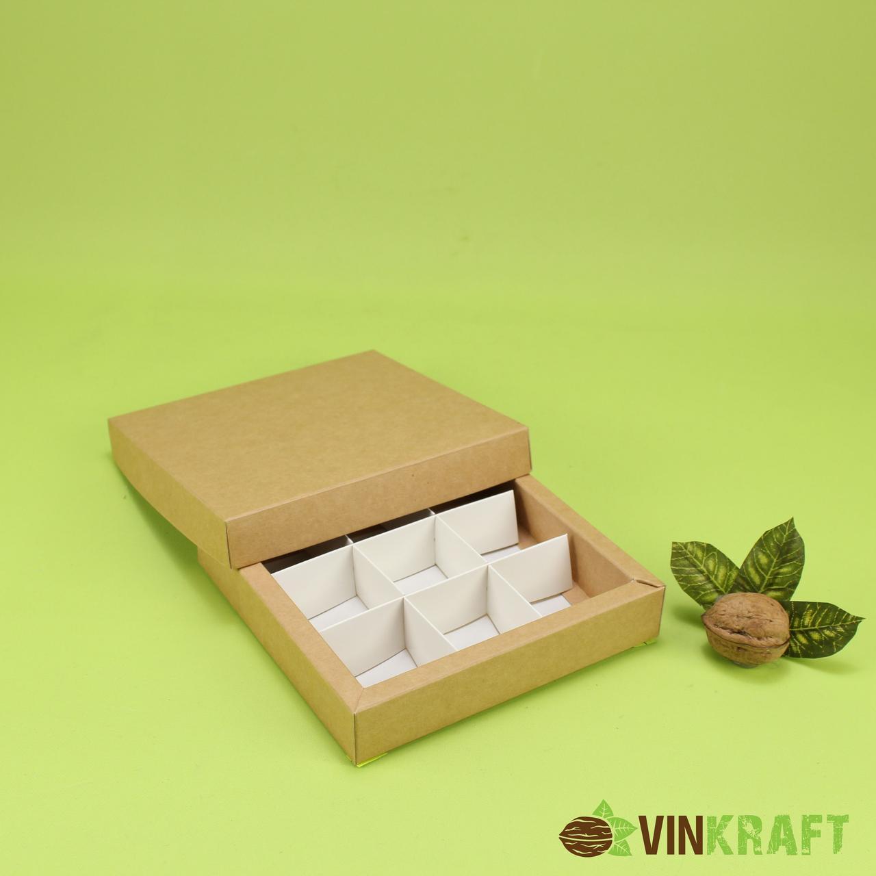 Коробка 145*145*29 для цукерок (9 шт), крафт