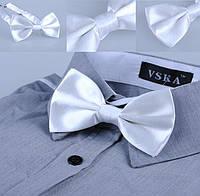 Бабочка галстук белая атлас, фото 1