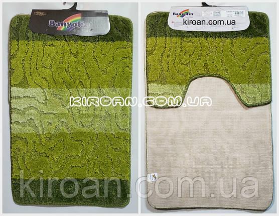 Набор ковриков в ванную комнату BANYOLIN 50x80см и с вырезом 40x50см (цвет зеленый), фото 2