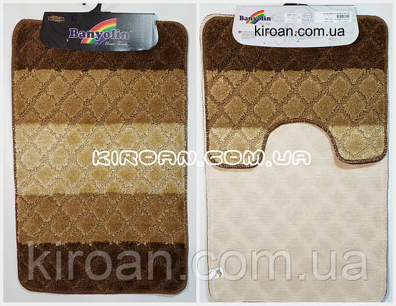 Набор ковриков в ванную комнату BANYOLIN 50x80см и с вырезом 40x50см (цвет коричневый), фото 2
