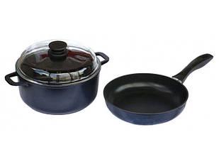 Набор посуды антипригарный Биол сковорода 260 мм + кастрюля 5 л Синий (И26ПС)