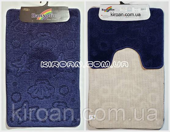 Набор ковриков в ванную комнату BANYOLIN 50x80см и с вырезом 40x50см (цвет синий ), фото 2