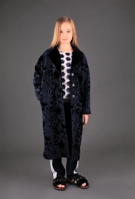 Демисезонное пальто для девочки (синее) тм МОНЕ р-р 140