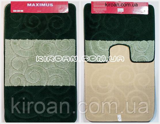 """Набір килимків для ванної """"Maximus"""", виробництво Туреччина 100*60 см + 50*60 см (смарагдовий колір), фото 2"""
