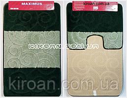 """Набор ковриков для ванной """"Maximus"""", производство Турция 100*60 см + 50*60 см (цвет изумрудный)"""
