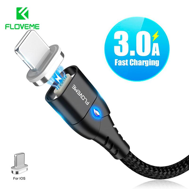 Магнитный кабель Lightning Floveme для зарядки iPhone/iPad/iPod (Черный, 1м)