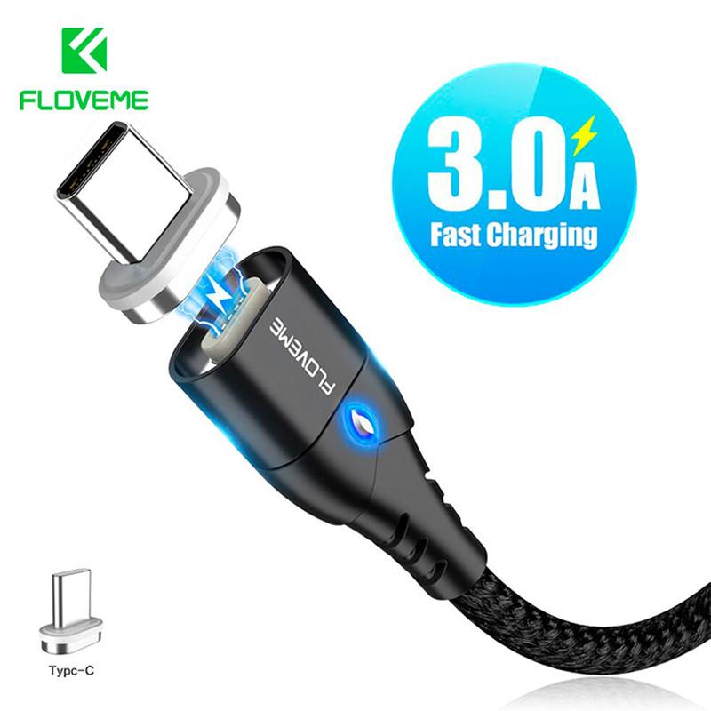 Магнитный кабель USB Type-C Floveme для зарядки и передачи данных (Черный, 1м)