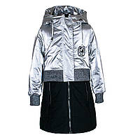 """Пальто демисезонное для девочек """"Feng shuoda"""" 140 серебро 1950"""
