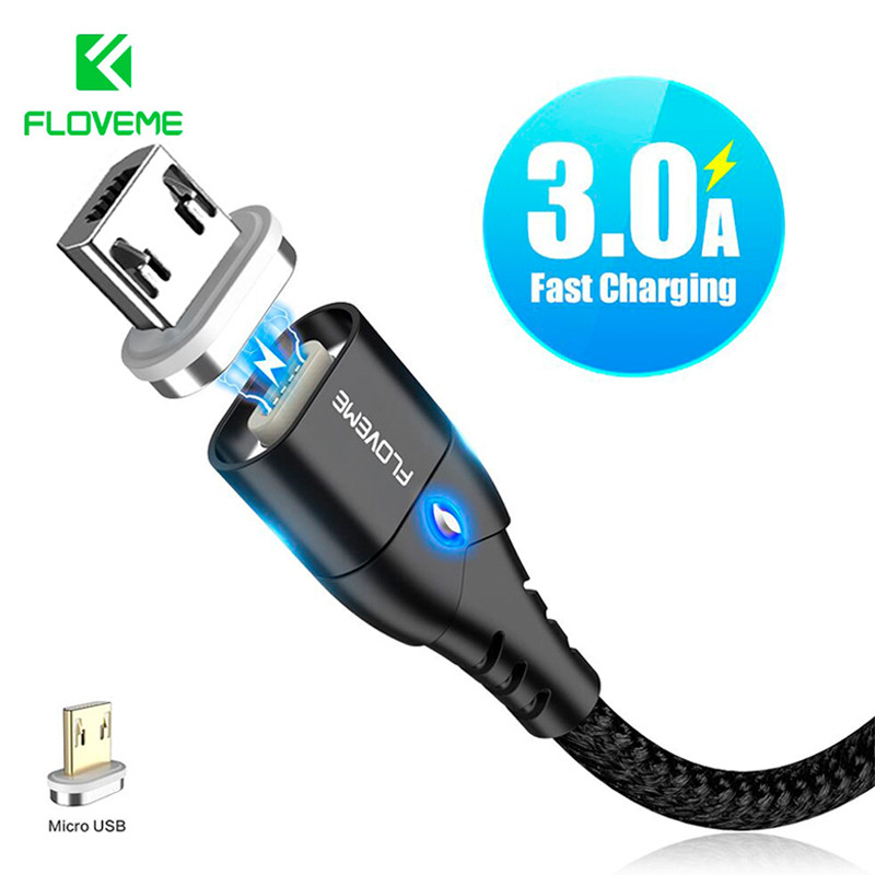 Магнитный кабель Micro USB Floveme для зарядки и передачи данных (Черный, 1м)