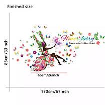 "Наклейка на стену, наклейки в салон красоты ""цветочная фея на качеле с бабочками"" 85см*170см (лист60*90см ), фото 2"