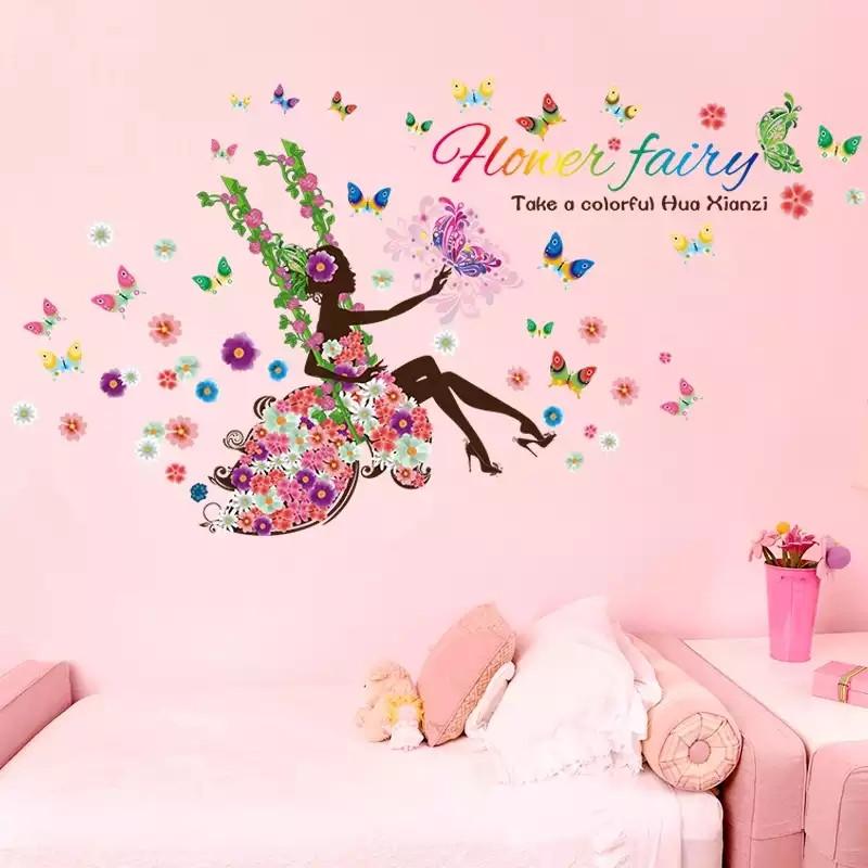 """Наклейка на стену, наклейки в салон красоты """"цветочная фея на качеле с бабочками"""" 85см*170см (лист60*90см )"""