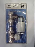 Набор кранов для радиатора прямой с термоголовкой