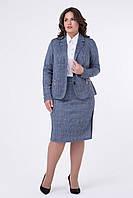Элегантный женский юбочный костюм-двойка (пиджак+юбка) из ангоры, офисный стиль,  р.48 код 2171М
