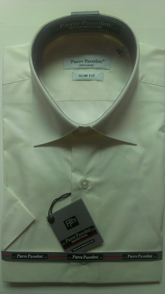 Мужская рубашка элегантная приталенная с коротким рукавом классика Pierre Pasolini