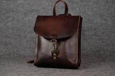 Жіночий шкіряний рюкзак Венеція, розмір міні, натуральна шкіра італійський Краст колір коричневий, відтінок Вишня