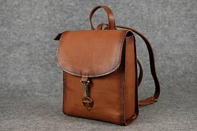 Жіночий шкіряний рюкзак Венеція, розмір міні, натуральна шкіра італійський Краст колір Коричневий