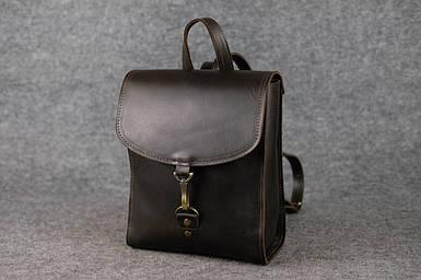 Жіночий шкіряний рюкзак Венеція, розмір міні, натуральна шкіра італійський Краст колір коричневий, відтінок Кава