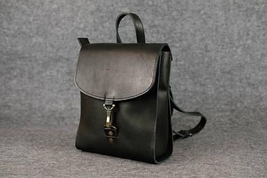 Жіночий шкіряний рюкзак Венеція, розмір міні, натуральна шкіра італійський Краст колір Чорний