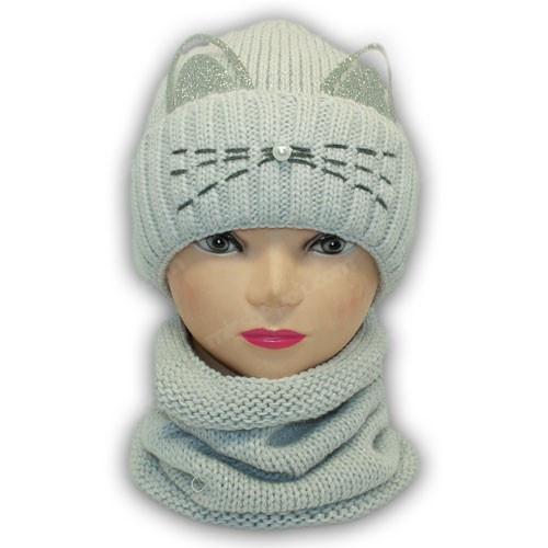 Шапка ушки с шарфом (хомут)