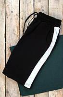 Мужские шорты с белой полоской, с лампасами, хлопок, черные - black