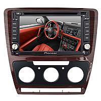 ✓Переходная рамка Lesko для Skoda Octavia N3757 Brown 2013 г.в. рамка для штатной автомагнитолы