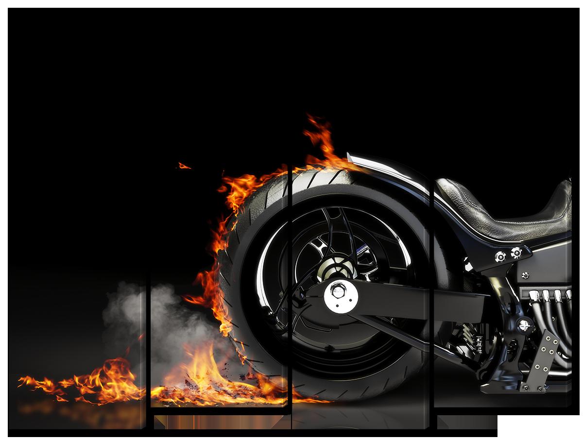 Модульная картина Interno Холст Мотоцикл в огне 124х94см (R1619L)