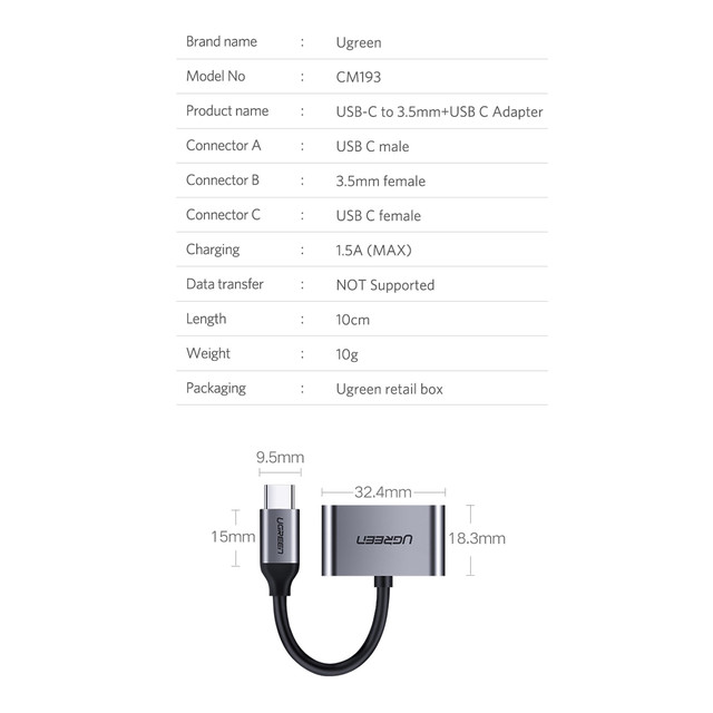 Переходник Ugreen Port Adapter Type-C Male to Type-C Female + AUX 3.5mm Female для наушников, гарнитуры CM193 50596 Серый Характеристики