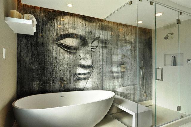 Стеклянное фотопанно для ванной