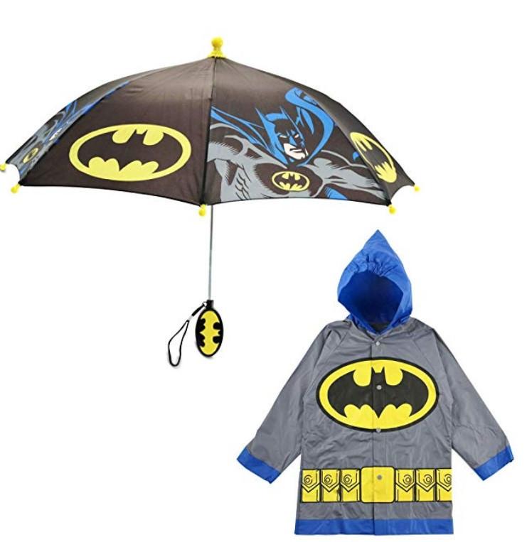 """Дитячий дощовий набір SUNROZ плащ-дощовик з парасолею """"Batman"""" 4-5 р. Сірий (SUN5312)"""