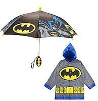 """Дитячий дощовий набір SUNROZ плащ-дощовик з парасолею """"Batman"""" 4-5 р. Сірий (SUN5312), фото 1"""