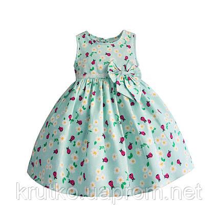 Платье для девочки Божья коровка, бирюзовый Zoe Flower, фото 2