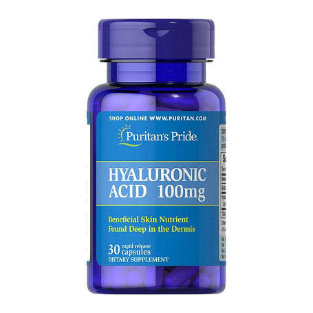 Гиалуроновая кислота Puritan's Pride Hyaluronic Acid 100 mg 30 капс, фото 2