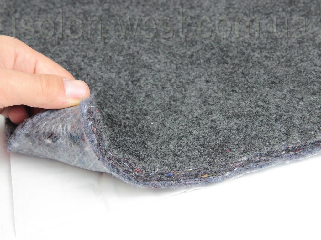 Шумо-звукоизоляция войлочная самоклейка НВ-12К, ламинированная карпетом графит50х69см, толщина 12мм