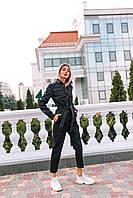 Джинсовый комбез черный женский, фото 1