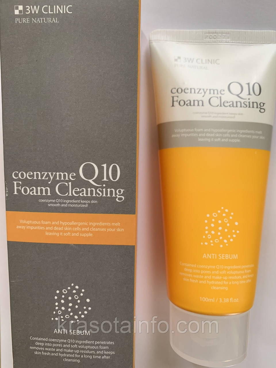 Пенка для умывания с коэнзимом Q10,   3W CLINIC Coenzyme Q10 Foam Cleansing, 100 мл