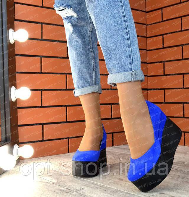 Туфлі жіночі замшеві шкіряні на платформі