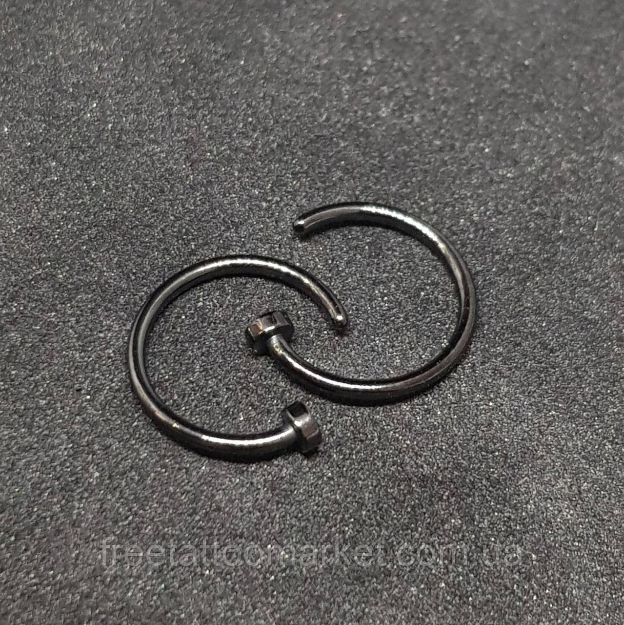 Кольцо для пирсинга носа черное с фиксатором (диаметр 10мм)