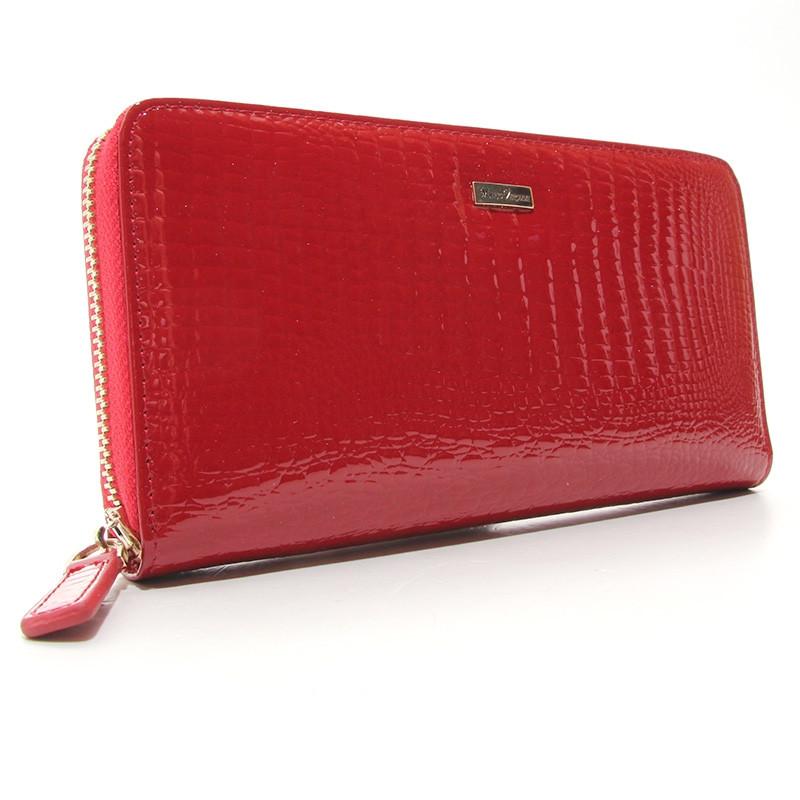 Кошелек кожаный женский на молнии красный Mario Veronni 9046