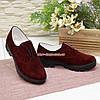 Женские замшевые туфли на утолщенной подошве, цвет бордо, фото 2