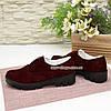 Женские замшевые туфли на утолщенной подошве, цвет бордо, фото 4